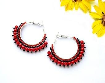 Unique Gifts for Mom Bohemian Jewelry Silver Earrings Elegant Boho Jewelry Gypsy Jewelry Statement Earrings Ethnic Earrings Red Earrings for