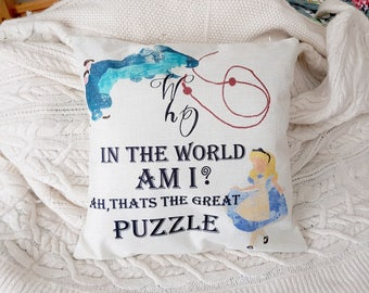 "disney alice in wonderland caterpillar quote  "" who in the world am i? ah, thats the great puzzle "" cushion cover 45 by 45 cm  gift"