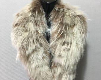 Genuine Real Beige Fox Fur Collar