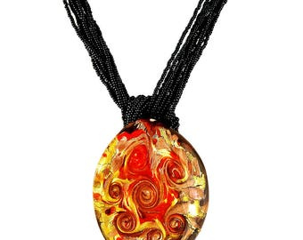 Murano Glass Pendant on Venetian Glass Seed Bead Necklace by I Love Murano 'Klimt Red Rose Garden', Murano Glass Pendant, Murano Necklace