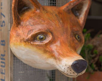 paper mache, fox, head wall mount, home decor, animal head, wall hanging