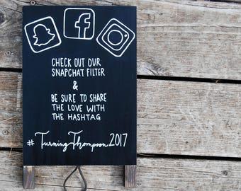 Hashtag Wedding Sign - Social Media Sign - Chalkboard Easel - Wedding Sign