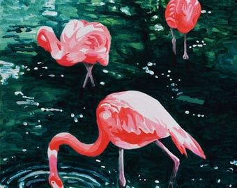 Flamingos Original Acrylic Painting