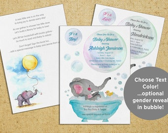 Baby Elephant Shower Invitation Printable (Custom 5x7 - 2 sides) with coordinating Thank You - Printable file or Printed Cards