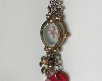 Vintage, assemblage, found items, one-of-a-kind, watch case pendant/necklace with key, button and beads, FREE SHIPPING