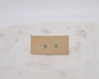 Dainty Turquoise Sterling Silver Stud Earrings-modern earrings-turquoise earrings-simple earrings
