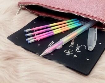 Set di Penne a Gel Arcobaleno | Penna a Gel Multicolor con 4 ricariche