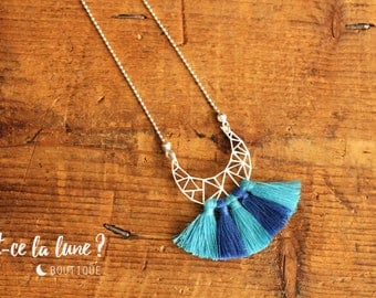 "SILVER 925 - Necklace / Necklace ""Geometric Moon & tassels"" - blue / turquoise"