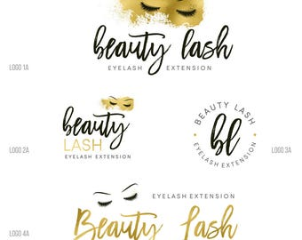 Custom logo, Eyelash logo, makeup artist logo, premade branding kit, gold lashes logo design, gold beauty logo, makeup logo watermark 050