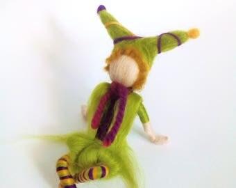 elf in a cone , wool pixie, waldorf elf, fairy pixie, magic fantasy, fae creations, wool craft,