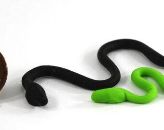Dollhouse Miniature Set of 2 Slithering Snakes