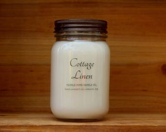 Cottage Linen 16 oz. Soy Candle-Soy Candles Homemade-Hand Poured-Highly Scented-Mason Jar Candles-All Natural Soy Candles-Summer Scented