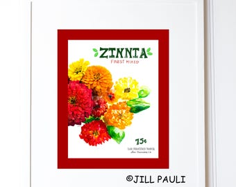 Zinnia Seed Packet Wall Art