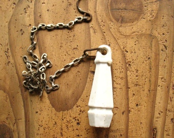 Vintage ceramic pull handle with chain 1930s