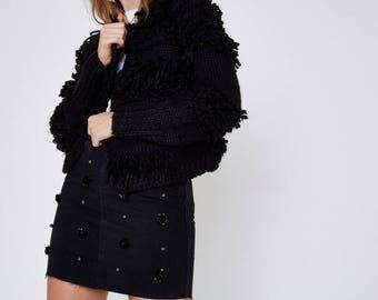 Black flower sequin embellished denim skirt