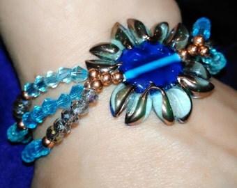 OOAK Copper and Lampwork 3-Strand Bracelet