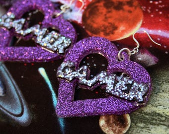 Large Super Holo Gamer Word Statement Resin Earrings