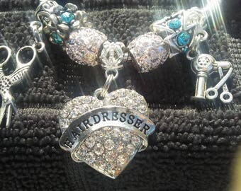 Hairdresser Bracelet with beads and dangles (scissors, blowdryer and crystal heart charm) FREE SHIPPING