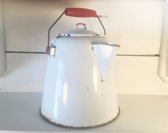 Rustic White and Red Trimmed Enamelware Large Kettle/Farmhouse Kitchen Decorative Enamel Kettle/Shabby Chic Kitchen Decor