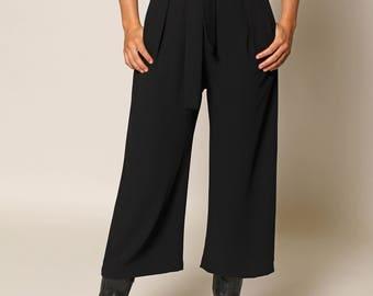 0433 Black Cropped Wide Leg Pants