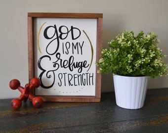 God is My Refuge & Strength Framed Canvas