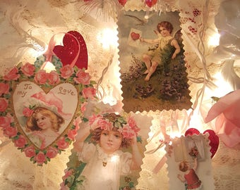 Vintage Valentine Gift Tags Glitter Valentine Paper Tags Set of Four Gift Tags with Ribbons Antique Victorian Valentine Images Gift Tags