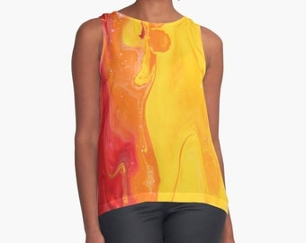 Original Art Print Contrast Tank Top Shirt - Sunrise
