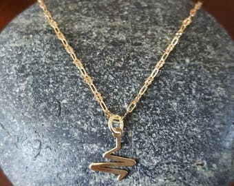 Gold Plated Sterling Silver Necklace with Heartbeat Pendant