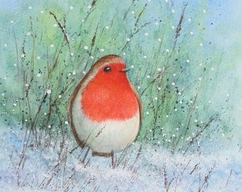 Robin Red Breast, blank greetings card from an original painting by Ingrid Hill