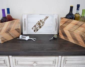 Engraved Serving Tray - Grape Vine Wine Bottle Design   Drink   Buttler   Bar   Rustic   Home Decor   Housewarming Gift   Engagement Present