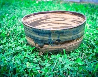 Large Marbled Stoneware Serving Bowl