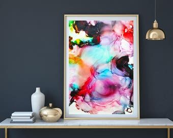 Home Art, Modern Art, Fluid art, Abstract Painting, Giclee Print, Rainbow Art, Wall Art, Wall Artwork,  Wall Prints, Abstract Art Print