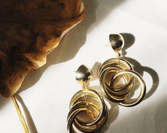 Modern Vintage Minimalist Hoop Chandelier Earrings