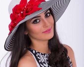 White and Black Sun Hat | Wide Brim Hat | Large Brim Hat | Straw Hat | Beach Hat | Flower Sun Hat | Summer Hat