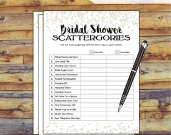 Scattergories Bridal Shower Game / Confetti Printable Wedding Shower Game / Bachelorette Party / Hen Party Games / DIY Wedding Games CX78