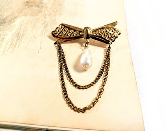 Vintage Bow Pin with Dangling Pearl and Swag Chains / Mid Century Costume Jewelry Pin