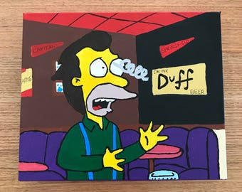 """SOLD - EXAMPLE ONLY: The Simpsons - """"Ow, my eye!"""" - 25x30cm painting"""