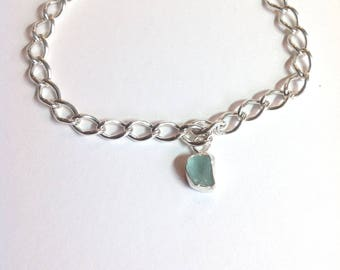 Handmade aqua sea glass and sterling silver 925 bracelet.