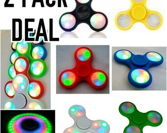 2 pack LED fidget spinner hand toy tri spinner with switches