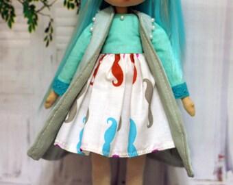 Textile doll, rag doll, cloth doll, art doll, fabric doll, interior doll, OOAK doll,  turquoise, vintage doll, doll