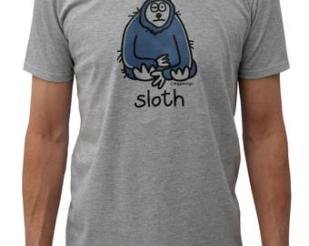 Mens lazy SLOTH grey T.shirt.