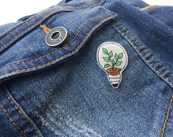 Plant in a Lightbulb  pin - Plant brooch / Plant pin / lapel pin / Plants / cute pins / handmade pins / Hand painted pin/ embossed pin
