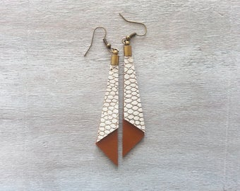 Leather Dangle Earrings Brown gold Dangle earrings Leather earrings