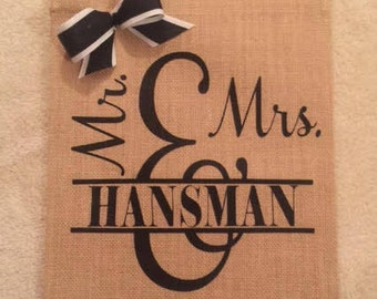 Personalized burlap Yard sign