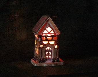 ceramic house - candle holder - lantern - fairy house - candle luminary-  home gift