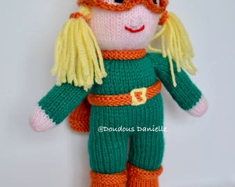Superhero Girl stuffed handmade knit doll