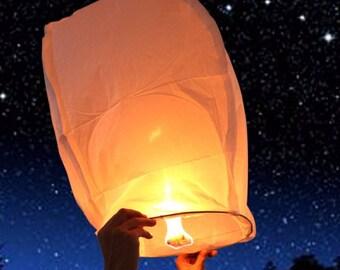 FREE SHIPPING - 10 piece - White Kongming Chinese Wishing Lantern  - Sky Lanterns For Birthday Wedding Anniversary Party Decoration