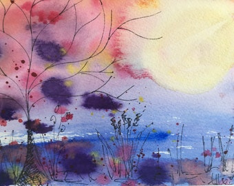 Whimsical Watercolour Landscape Lakeside Sunset Sunrise, Original artwork gift, original watercolour art, landscape painting, home decor