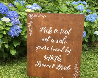 Wooden Aisle Sign | Wedding Ceremony Sign | Ceremony Seating Sign