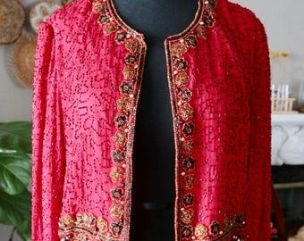 Vintage Laurence Kazar Red Silk Beaded Blazer/Jacket, Red Beaded Jacket, Beaded Jacket